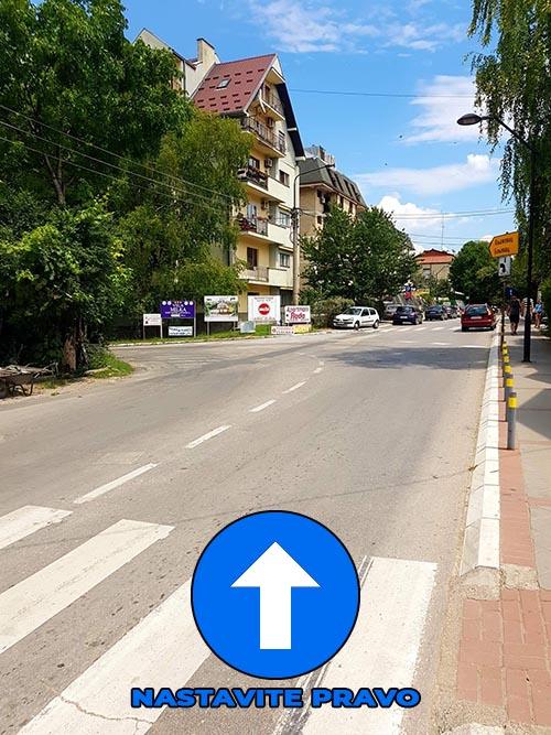 Po dolasku u Sokobanju iz pravca Aleksinca, krećete se ka autobuskoj stanici i centru grada, ulicom Alekse Markišića.  Na ovoj raskrsnici nastavljate PRAVO.